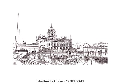 Gurudwara Bangla Sahib ( About this sound listen) is one of the most prominent Sikh gurdwara in Delhi, India. Hand drawn sketch illustration in vector.