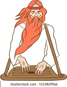 Guslyar, an old man with a beard playing on a stringed old instrument harp.  Gusli . Vector drawing. Hussler.
