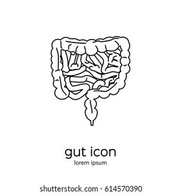 Gut human digestive system. Stock vector illustration of internal organs icon in black outline isolated on white background.