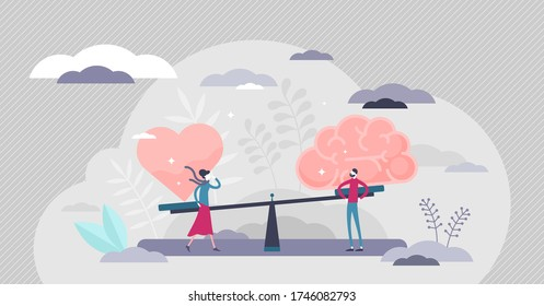 Gut instincts vector illustration. Brain vs heart flat tiny persons concept. Symbolic creative scene with seesaw and love in one side and practical in opposite. Emotional instincts and logic balance.