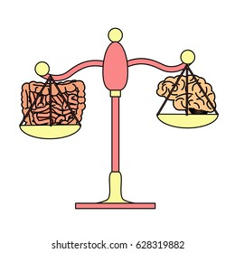 Gut vs brain on the scales concept. stock vector illustration of scientific idea of microbiota influencing central nervous system.