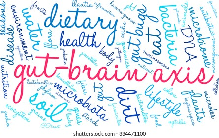 Gut-Brain Axis word cloud on a white background.