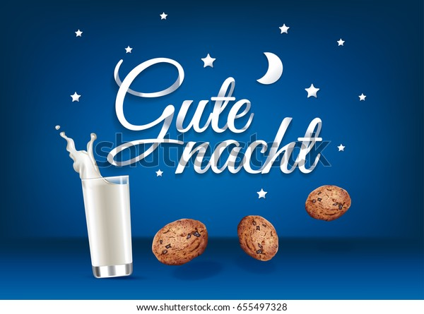 Gute Nacht Paper Hand Lettering Calligraphy Stock Vector Royalty