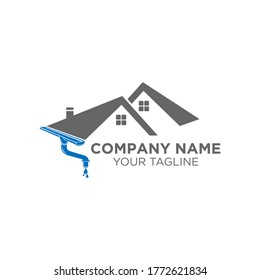 gutter and house roof logo template. Roof downspout vector design. Gutter services logotype.EPS 10