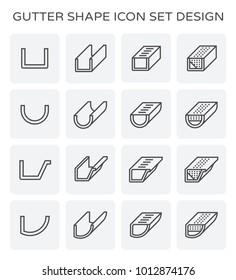 Gutter shape icon set design.