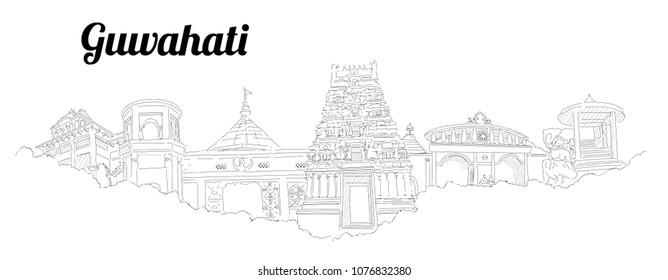 GUWAHATI CITY city vector panoramic hand drawing illustration