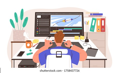 Guy animator at creation project process vector illustration. Male motion designer working on computer. Freelancer graphic creator at workplace. Back view man learn at online animation editor course