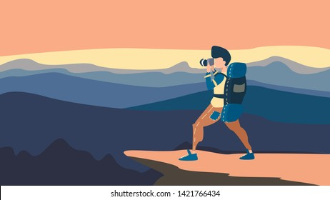 Guy with backpack, traveller and photographer standing on top of mountain and photo the landscape. Concept of discovery, exploration, hiking, adventure tourism and travel. Flat vector illustration.