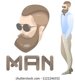 Guy. Beard and fashionable clothes.