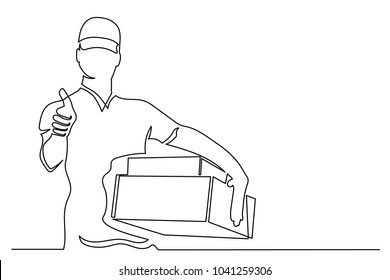 The guy in the cap courier with boxes shows a thumbs-up. One line drawing isolated vector object by hand on a white background.