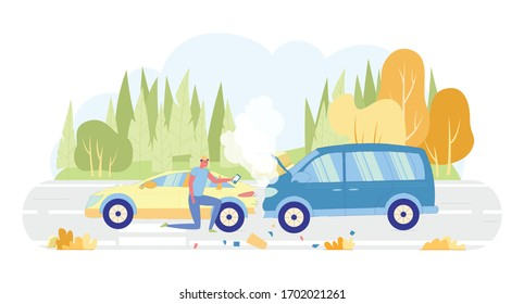 Guy Character who Owns Car Taking Colliding Cars Photo Flat Cartoon Vector Illustration. Van Bumped into Automobile. Road outside City with Transport Accident on Nature Background.
