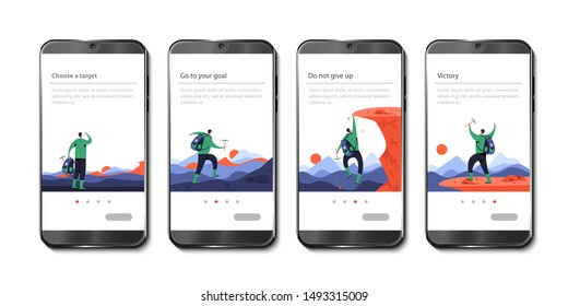 Guy (climber) chose mountain and climbed on it. Set of illustrations on the topic-go to your goal, decorated in the form of onboarding (can be used for any other purpose). Flat modern illustration. Th