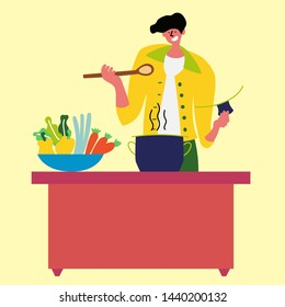 The guy cooks a healthy meal in a pot in the kitchen. Calorie-free soup in a saucepan. Delicious and healthy dinner. Healthy food. Vector EPS 10 file editable