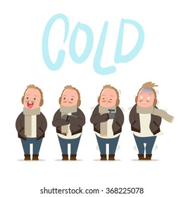 Guy feeling freeze in snow town - cold, winter - Vector illustration