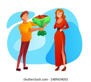 Guy flirting flat vector illustration. Shy man and woman, adolescents cartoon characters. Timid boy presenting girl flowers. Affection, romantic gesture, feelings expression. Valentine day gift