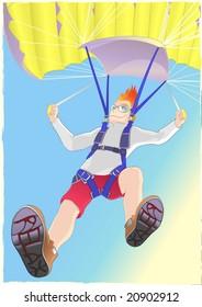 Guy flying Parachute