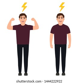 The guy with a full charge of energy, a strong active man, cartoon character vector illustration