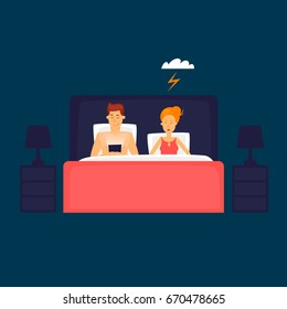 Guy and girl in bed. Flat design vector illustration.
