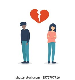 A guy and girl couple  crying due to a broken heart. Flat vector illustration design.