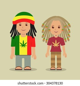 The guy and the girl with dreadlocks. Belonging to subculture the rastafarian.