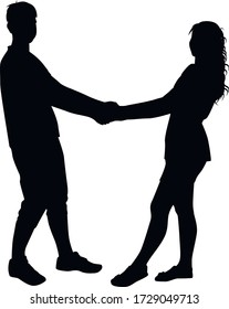 guy and girl holding hands silhouette on a white background