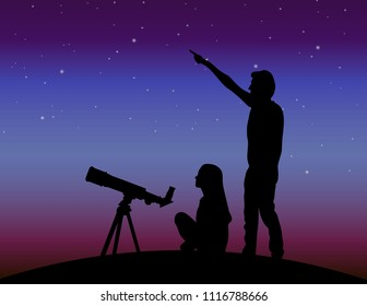 A guy and a girl looking at the stars. A couple of people under the skies. Couple in the background of the starry sky. Silhouette of people studying stars.
