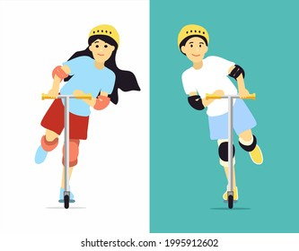 Guy and girl ride an electric scooter and enjoy life. Brother and sister spend time in sports. Warm picture of family happiness. Illustration of healthy lifestyle outside home. Boy and girls in gear.