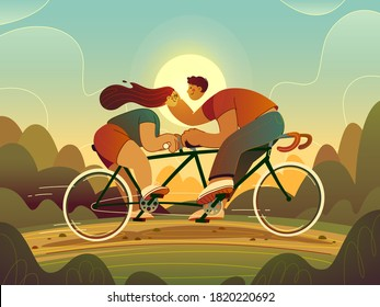 A guy and a girl ride a tandem bike. Summer evening. Loving couple. Romance. Vector illustration.