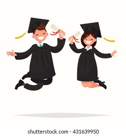 Guy and girl university graduates joyfully bounce. Vector illustration of a flat design