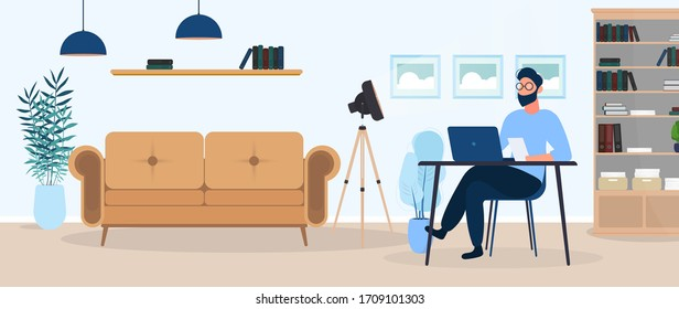 A guy with glasses sits at a table in his office. A man works on a laptop. Office, sofa, bookshelf, business man, floor lamp. Office work concept. Vector.