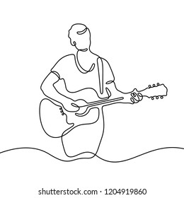 Guy with a guitar continuous line illustration