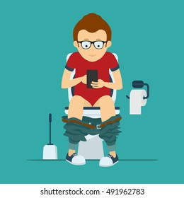 Guy hipster sits on  toilet bowl with phone in hands.  Stock vector illustration.