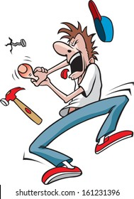 Guy hits thumb with hammer. Cartoon of a Man who has just hit his thumb with a hammer. Layered vector file.