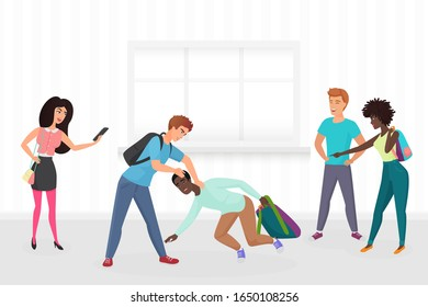 Guy hitting classmate, mocking him, scoffing, excruciate, cling, intimidate, taking photos on smartphones. Mockery and bullying at school problem cartoon vector illustration