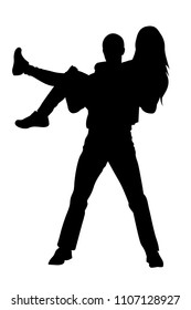 Guy holding girl in his arms