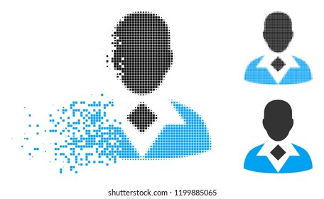 Guy icon in disappearing, dotted halftone and undamaged solid variants. Particles are composed into vector disappearing guy pictogram. Disappearing effect uses rectangle particles.