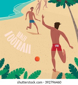 Guy kicks the ball on the beach - Beach soccer or football concept. Vector illustration