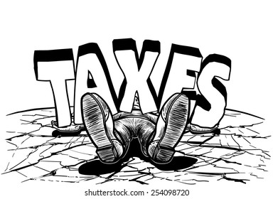 Guy Knocked Out TAXES Line Art Vector