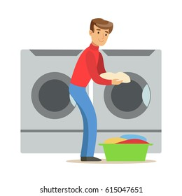 Guy Loading Dirty Laundry, Part Of People Using Automatic Self-Service Laundromat Washing Machines Of Vector Illustrations