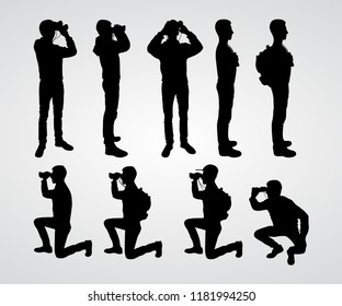 The guy looks at the binoculars. Set of silhouettes