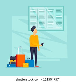 Guy looks at the train station schedule, travel, airport, bus station, railway station. Flat design vector illustration.