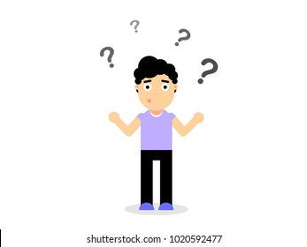 The guy in perplexity, surprised, confused, vector illustration