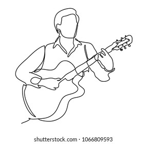 The guy playing the guitar. Vector illustration. Isolated on white background. Continuous line drawing. Vector monochrome, drawing by lines.