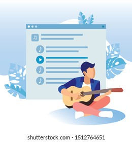 Guy Plays Guitar in Background Playlist Screenshot. Man Interested in Music.
