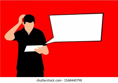 The guy reads a sheet and scratches the back of his head with an empty dialog box in isolate on a red background. Vector illustration.