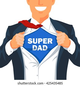 Guy rips his shirt to show the inscription Super Dad. Young smiling businessman. Vector illustration on white background. Excellent gift card Father's Day. Guy in suit. Kid muscle.