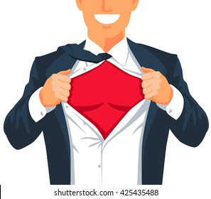 Guy rips his shirt to show his chest. Young businessman. Vector illustration on white background. Place for an inscription.