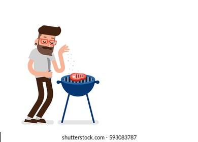 Guy seasoning steak with salt, flat design vector.