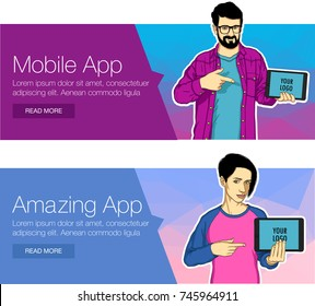 Guy showing tablet screen app on colorful banner. Man presentation of mobile application, startup, website. Vector illustration of cloud service, social network and technology for banner