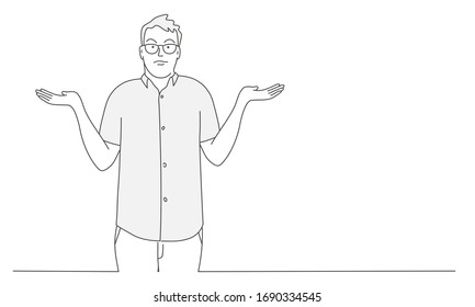 Guy shrugs and spreads his hands. Gesture oops, sorry or I do not know. Hand drawn vector illustration.